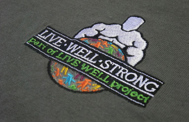 Live well project embroidery sample